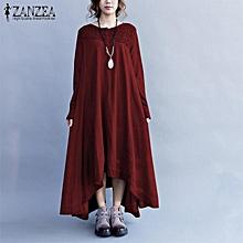 ZANZEA Women Button Up Plus Size Cotton Kaftan Boho Long Sleeve Maxi Dress Wine Red