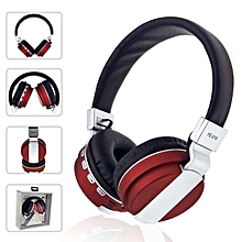 Foldable Wireless Bluetooth Headphones Overear Headband Earphone With Mic Support FM Radio MicroSD TF Card - Red