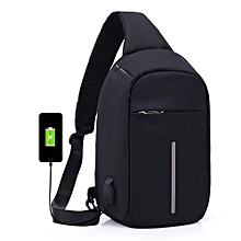 jiuhap store Laptop Backpack Crossbody Bags Anti-theft Notebook School Bag With USB Port-Black