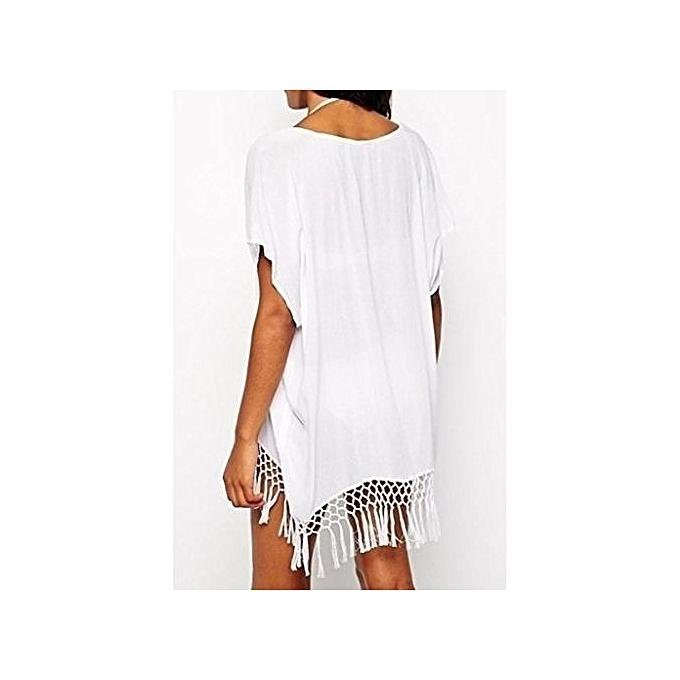 8f35e58ea8 Generic Womens Short Kimono Sleeve Crochet Fringe Beach Kaftan ...