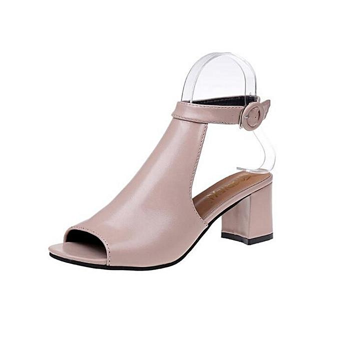 03e0c0bce13 Fashion Women s Shoes Peep-toe Chunky Heels Mid-Heeled Sandals white ...