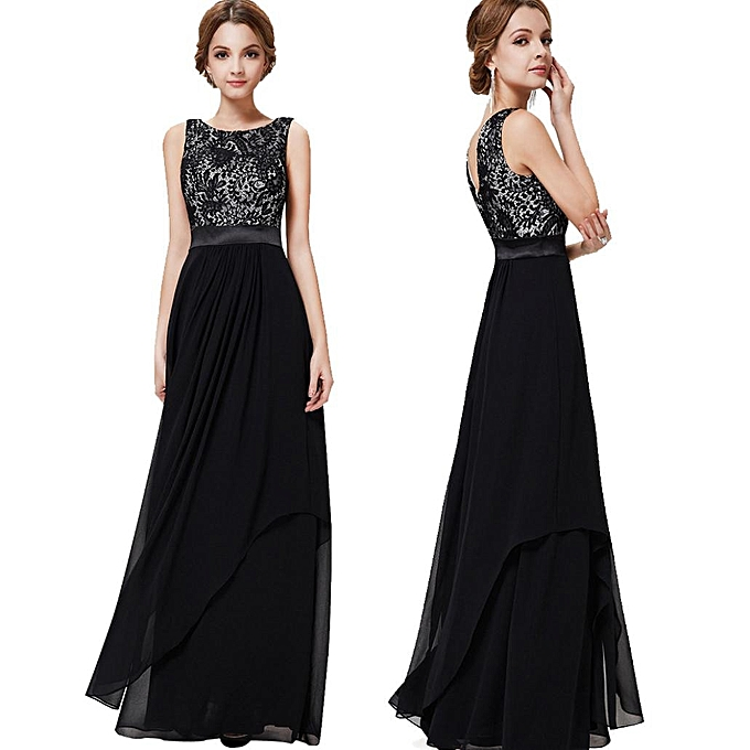 02ad61aff66e0 Women Long Chiffon Lace Evening Formal Party Ball Gown Bridesmaid Dress BK/L