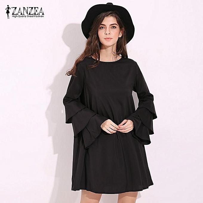 ZANZEA Elegant Womens Flared Long Sleeve Mini Dress Casual Loose Ladies  Solid Party Straight Shift Dress 7d97d96161b9