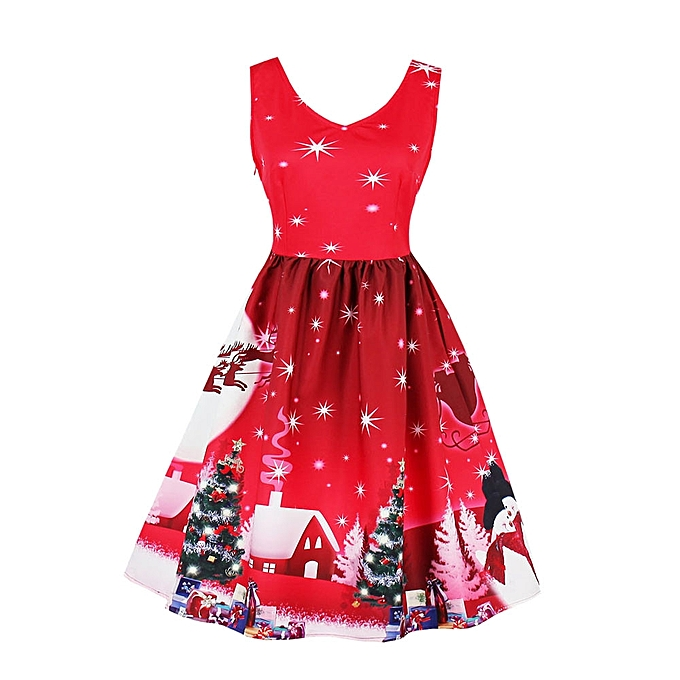 4e999f95ba74 jiuhap store Plus Size Womens Santa Christmas Party Dress Vintage Xmas  Swing Skater Dress -Red