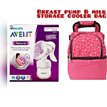 AVENT Manual Breast Pump - Clear with A 2Compartment Breast Pump & Milk Cooler Bag