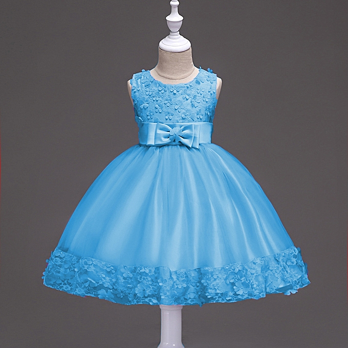 e523fa362d34 Flower Girls Little Princess Dress Children Clothing Kids Party For Girl  Clothes - Blue