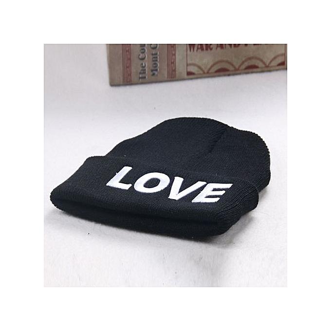 dbd8a65fcda Zetenis Love Embroidery Baby Beanie For Boys Girls Hat Children Winter Hats  BK -Black