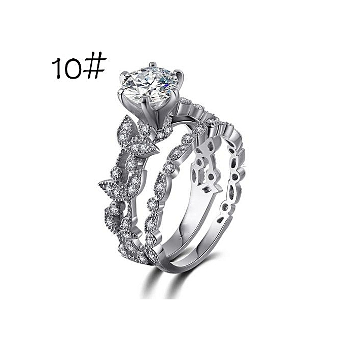 Unique Leaf Design For Women Jewelry White Diamond Wedding Engagement Ring Set Sliver