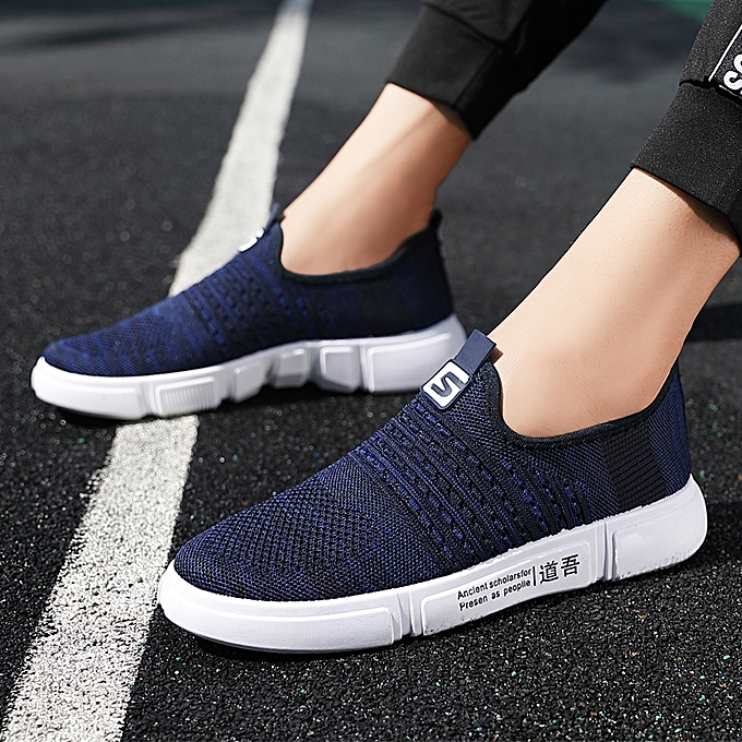0d71eca058e798 Tauntte Knitting Sneakers For Men Breathable Casual Shoes (Blue ...