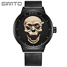 Style 3D Skull Men Watch Brand Luxury Steel Vintage Quartz Male Watches sport clock  - Black