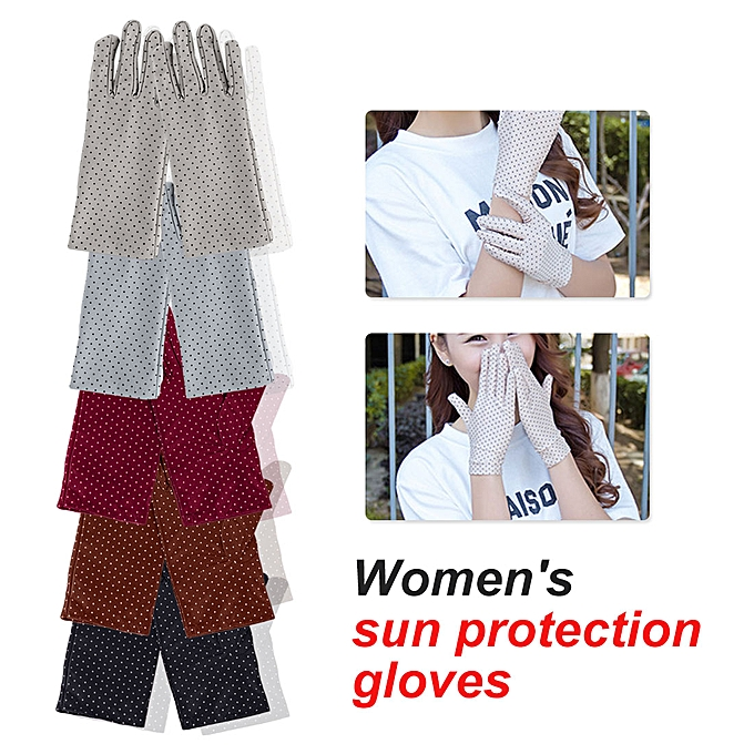 c65053cdb ... Fashion Summer Drive Women Sun Protection Wrist Gloves & Mittens Dot  Elastic Lady Girl Women's Gloves ...