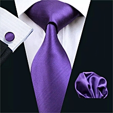 Executive Purple Tie with cuff links and pocket square