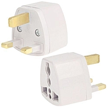 Plug Adapter, Travel Power Adaptor with UK Socket Plug(White)