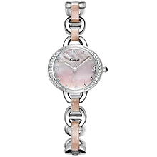 Brown/Pink Tone Silver Bracelet Wrist Watch - One size