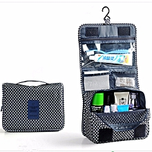 Travel Folding Wash Toiletry Bag Hanging Women Make Up Cosmetic Case Organizer Navy Blue