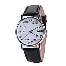 Women Mens Leather Stainless Steel Watch Sport Quartz Wrist Watch -Black