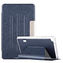 Huawei MediaPad T3 7 Silk Texture Horizontal Flip Leather Case with Holder (Dark Blue)