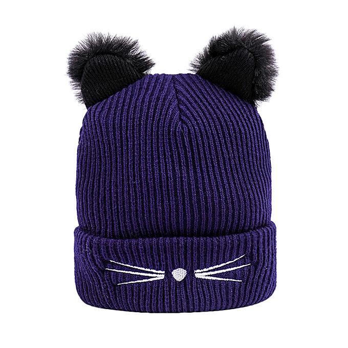 ac4fde9ed9b Wenrenmok Store Women Winter Fashion Keep Warm Cat Ear Winter Hats Knitted  Wool Hemming Hat-Navy