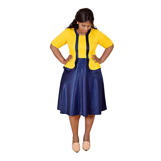 3cb8905f2ee2 Faith fashions Yellow & Navy Blue 3/4 Sleeved Skater Dress @ Best ...