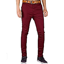 Mens FashionPlus Chinos Trouser Pant - Maroon - Stretch Slim Fit