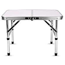 Adjustable Folding Camping Table - White