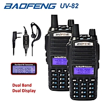 2 x Baofeng UV82 Walkie Talkie 5W VHF UHF UV-82 Portable Walkie Talkies 2800mAh Two Way Radio + Free PPT Earpiece