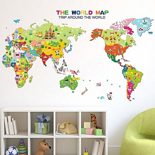 Generic GETEK Animal World Map Removable Kids Room Wall Sticker ...