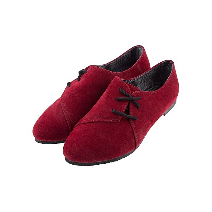 97436b102b973 Casual Solid Color Nubuck Leather Lace Up Round Toe Flat Shoes For Women