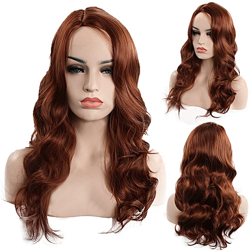 Allwin Brown Color Wigs For Women Long Style Wavy Heat Resistant Synthetic  Wigs   Best Price  bc4d1539d