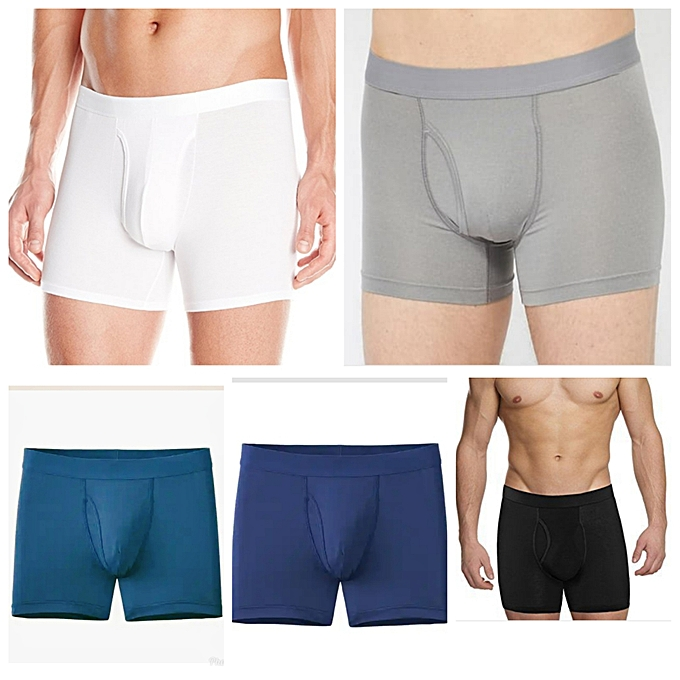 Men Casual cotton fitting Boxers (pack of 5)white,black,grey,navy blue,blue