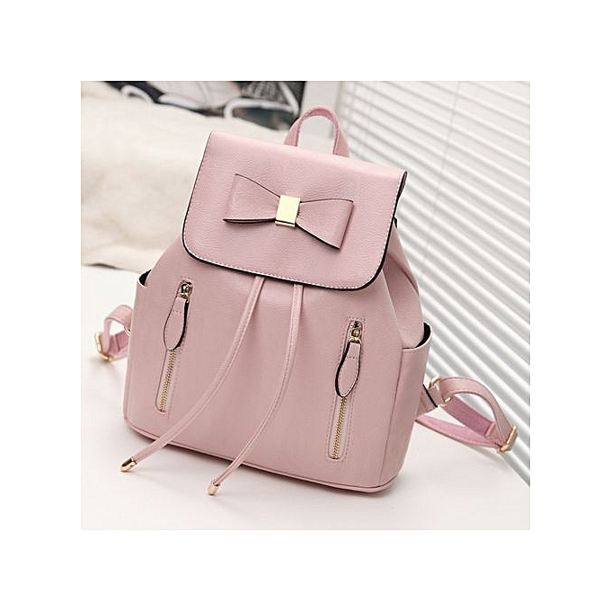 f6af879af Refined Multi-function Backpack For Women Bow Travel Bags School College Bag  Casual-pink