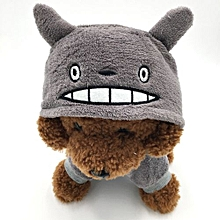 Pet Dog Clothes Totoro Flannel Hooded Romper - Grey