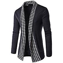 Men's Slim Fit Long Sleeve Patchwork Blouse Tops Coat Outwear -Dark Gray