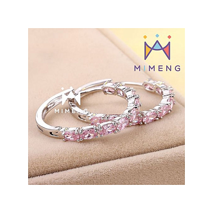 b3ee553503b74 MiMeng Oval Cubic Zirconia Big Hoop Earring for Women Engagement Jewelry