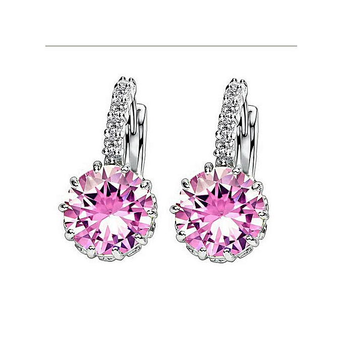 cf4ba1b604 SHUANGR 9 Colors Silver Pink Blue Large Crystal Earrings with Stones Cubic  Zirconia Women's Earings Boucle D'oreille Femme