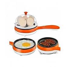 Non Stick Multi function Electric Frying Pan & Egg Steamer/ Egg Boiler- Orange & white