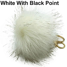 Soft Fluffy Pompom Ball Keychain White With Black Point