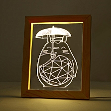 KCASA FL-720 3D Photo Frame Illuminative LED Night Light Wooden Girl's Back Christmas USB Lamp