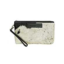 White / Black Fur Cosmetic Bag