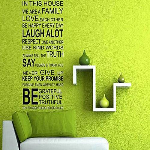 Generic Letters Sticker Wallpaper Family Rules Love Art - Black