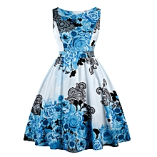 Women Vintage Floral Print Swing Party Dress - Butterfly Blue