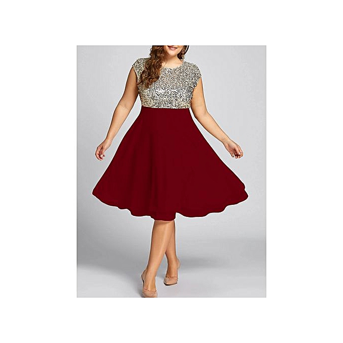 b8a7d446f4c355 Fashion Flounce Plus Size Sequin Sparkly Cocktail Dress - Wine Red ...