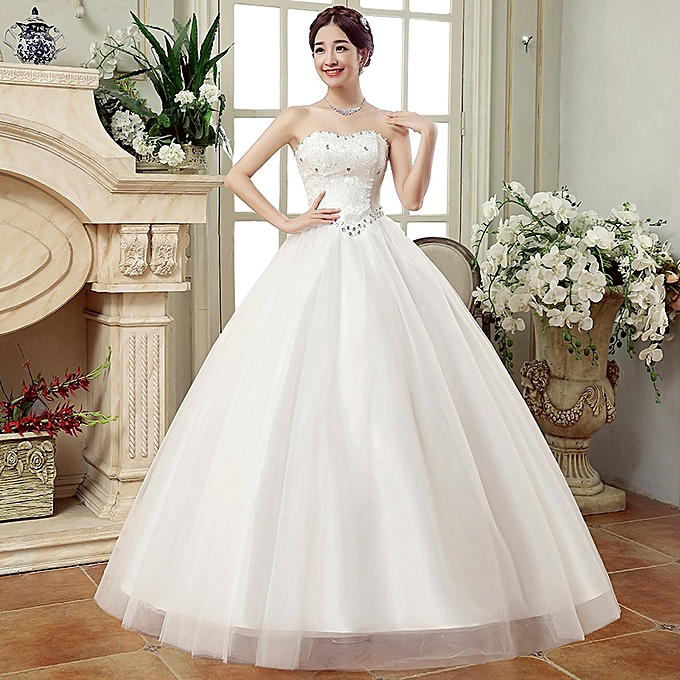 Buy Fashion Womens Sweetheart Wedding Dresses Lace Long Bridal