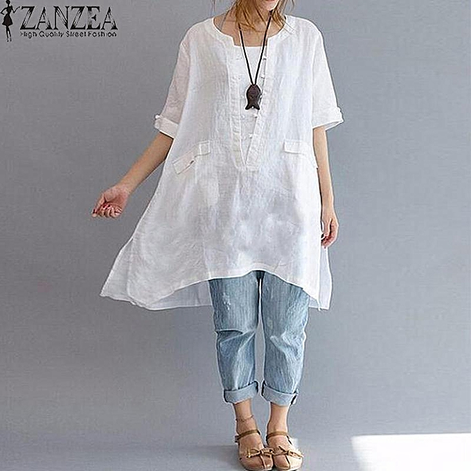 0c7c3b798ca281 ZANZEA Women 3 4 Sleeve Cotton Loose Casual Long Tops Blouse Shirt Pullover  Plus
