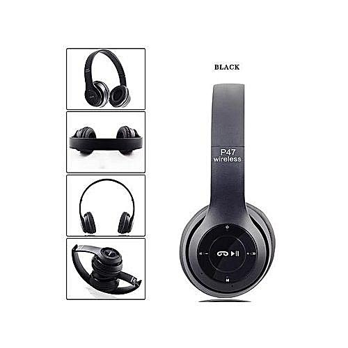 P47 Wireless Bluetooth Headphones Stereo FM Radio Headset Foldable TF card  Mic