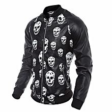 Men Leather Jacket Autumn&Winter Biker Motorcycle Zipper Outwear Skull Warm Coat