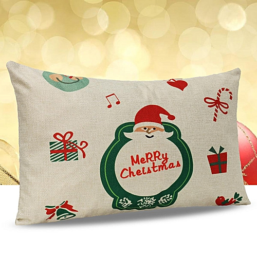 Generic Merry Christmas Letter Sofa Bed Home Decoration Pillow Case Cushion Cover Linen