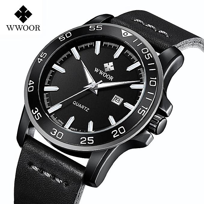 Wwoor Brand Watch Men Watches Luxury New Top Men Waterproof Date Quartz Clock Leather Army Military Male Sport Wrist Watch