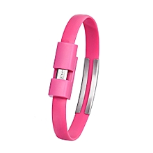 Wristband Micro USB Cable Charger Charging Data Sync For Cell Phone -Hot Pink