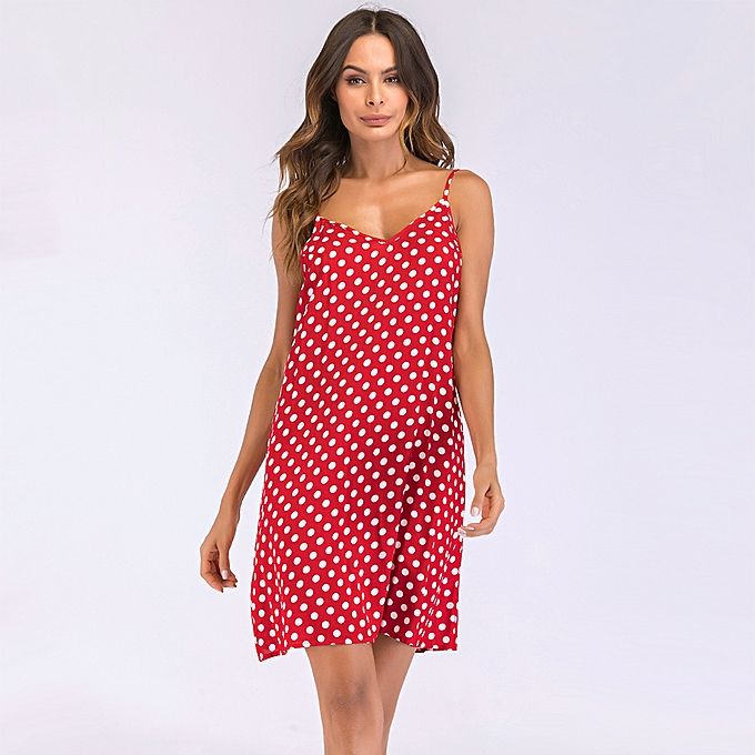 1dcf1c40a7 Women Dress Polka Dot Print V Neck Sleeveless Tie Spaghetti Straps Backless  Mini Casual Vintage One
